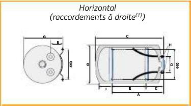 Extremement Chauffe-eau Chaffoteaux 3010888 électrique 150L Horizontal Raccord DH-79